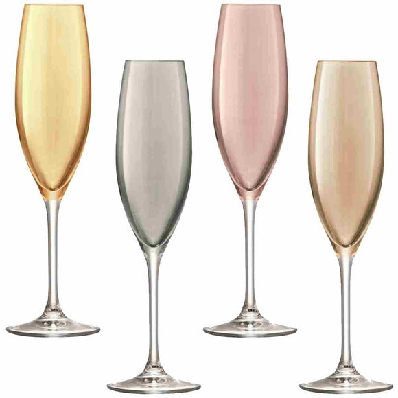 Polka, Set of 4 Assorted Metallic Champagne Flute Glasses