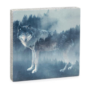 Forest Wolf Art Block, 6.25x6.25x1.25""
