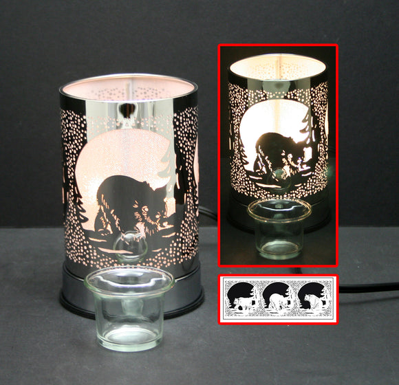 Touch Sensor Lamp – Grizzly Bear w/ Glass Oil Holder, 7
