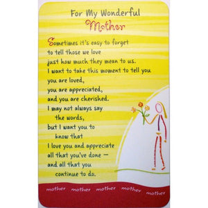 """For My Wonderful Mother"" Wallet Card"