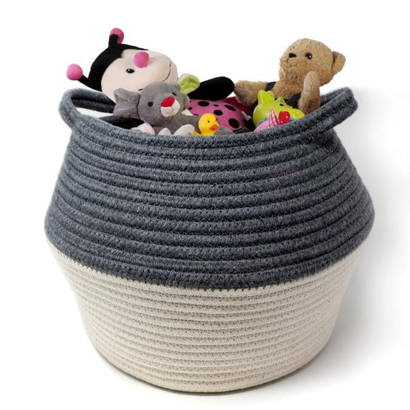 Natural Living Woven Belly Basket, Grey / White 33x24cm H