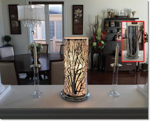 "Touch Sensor Silver Lamp Super Sized Forest, 19"" H"