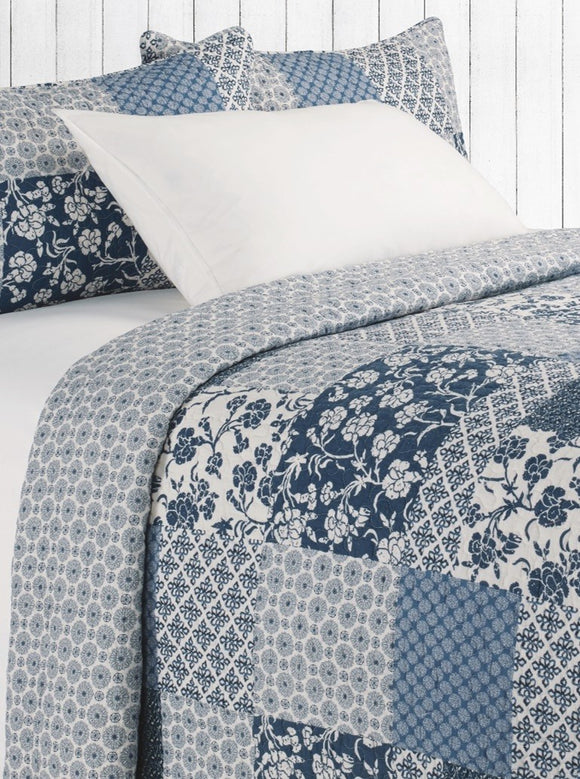 Edith Blue &Ivory Quilt Set, Super King 114x100