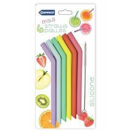 Mini Silicone Straws, Set/6 w/Brush 15.5cm