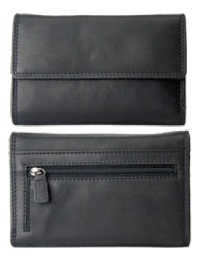 Rugged Earth Black Leather Midsize Ladies Wallet, Style 880016