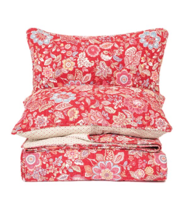 Brunelli Berry Flowered Red Quilt Set, Double/Queen 88x90