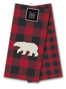 Northern Animals Embroidered Tea Towel Set - Grizzly Bear, Red/Black