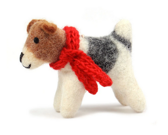 Terrier With Red Scarf Felt Ornament