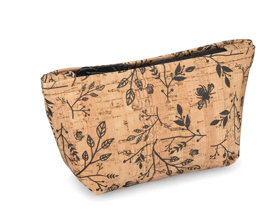 Be Organized Rustic Cork Small Pouch w/ Floral Print