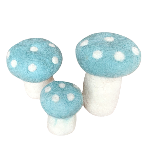 Hamro Felt White & Blue Mushrooms, Set 3