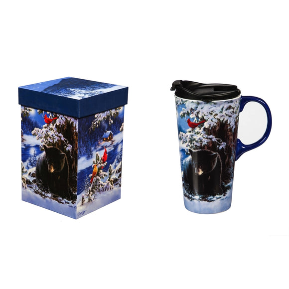 Ceramic Travel Cup w/Tritan Lid & Gift Box, 17oz Merry Little Christmas Bear