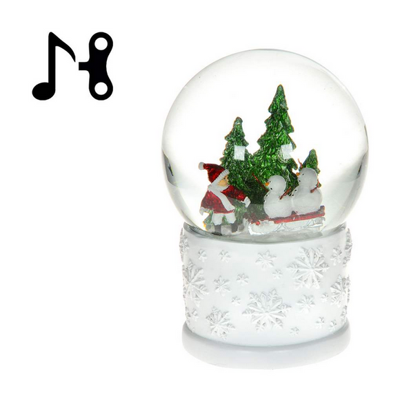 Child With Snowman Waterglobe With Music, 12cm