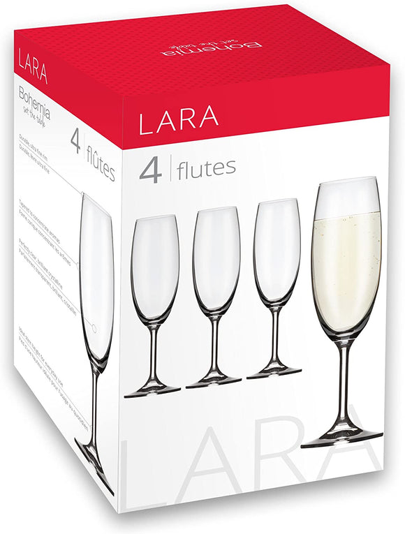 Lara Champagne Flutes, Set of 4
