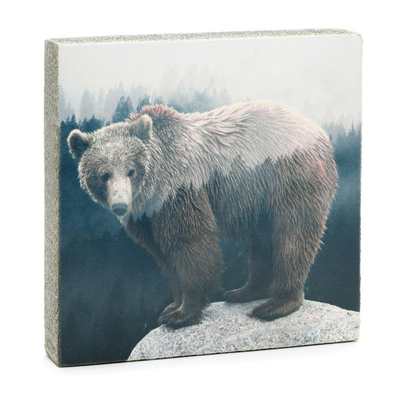 Forest Bear Wall Art, 4x4x1.25