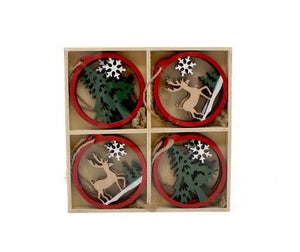 Wooden Deer/Fir Ornaments in Wood Box, Set of 8