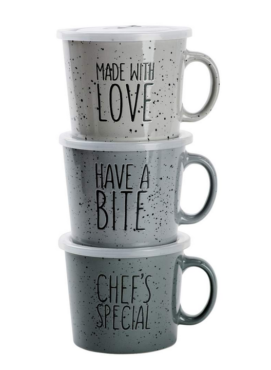 'Expressions' Souper Mug With Lid, Assorted