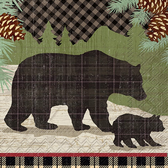 Cocktail Napkin - Black Bears
