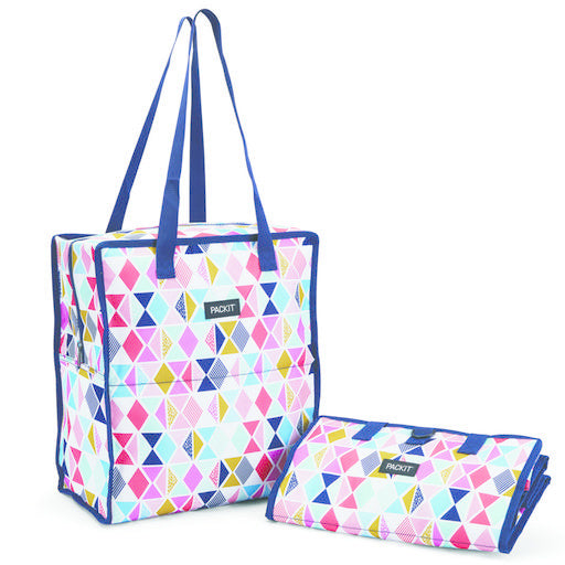 PACKIT Freezable/Reusable Grocery Bag w/Zip Closure, 'Festive Gem' Pattern