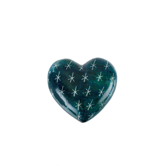 Blue Lagoon Soapstone Heart, Small 2x2x0.75