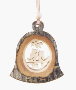 Bark Bell-Shaped Ornament, 2 Owls