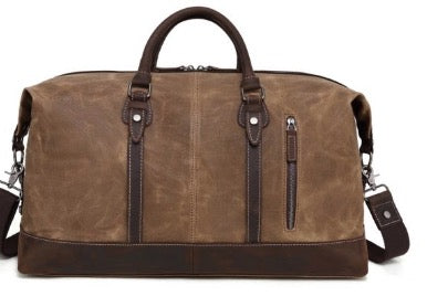 Waxed Canvas Duffel Bag With Leather Trim