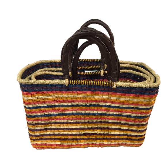 Handwoven Seagrass Shopping Bags, Set of 3, Multi-Stripe