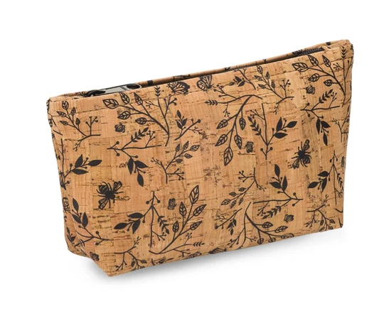 Be Organized Rustic Cork Medium Pouch w/ Floral Print