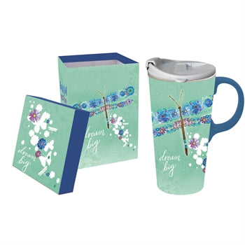 Ceramic Travel Cup w/Tritan Lid & Gift Box, 17oz, Dream Big