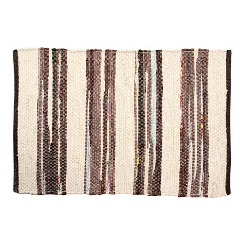 Chindi Floor Mat, Ivory/Brown/Mixed Stripe 24x36