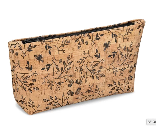 Be Organized Rustic Cork Large Pouch w/ Floral Print