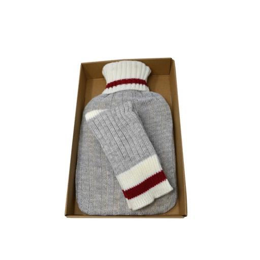 Hot Water Bottle & Matching Sock Box Set, Classic Wool Look