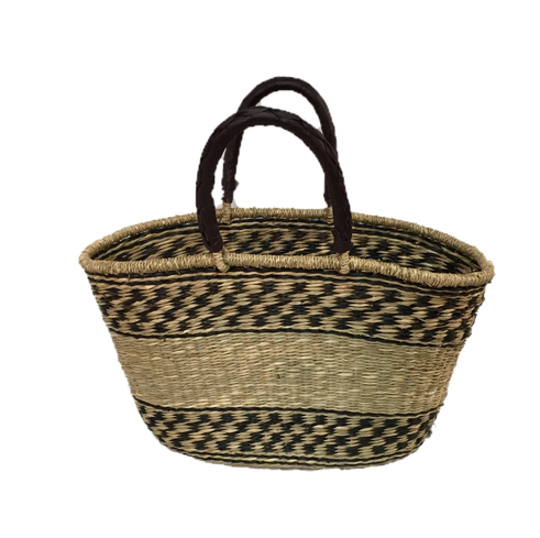 Greener Valley, Seagrass Oval Bag Brown Check w/ Natural Band