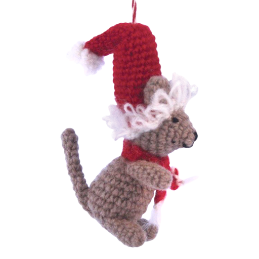 Ornament, Knit Mouse w/Red Hat