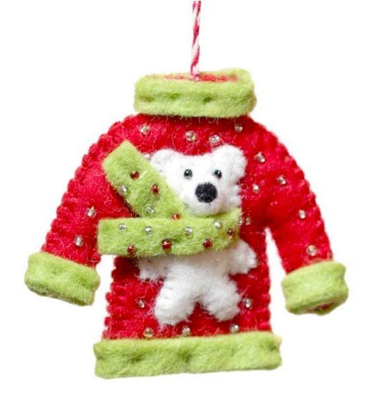 Hamro Felt Ornament, Bear Sweater