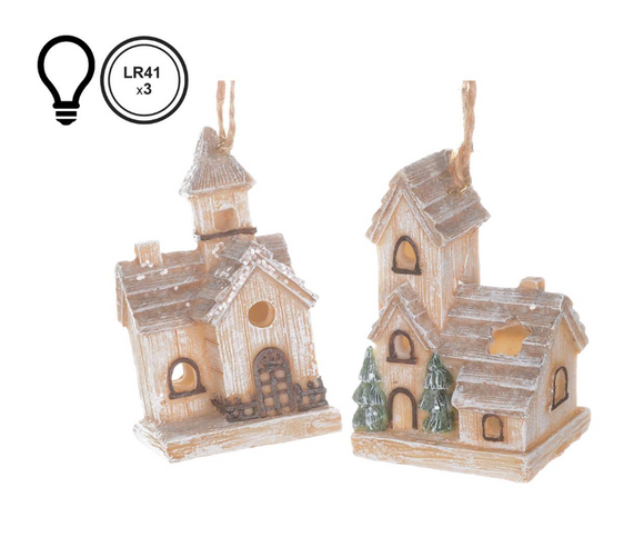 Winter House Ornament With Led Light, 3.5