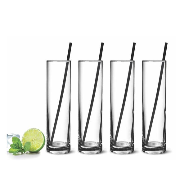 Mojito Glasses, Set of 4 500ml w/4 S/S Straws