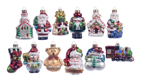 Old World Glass Ornaments in Acrylic Boxes, Assorted Styles
