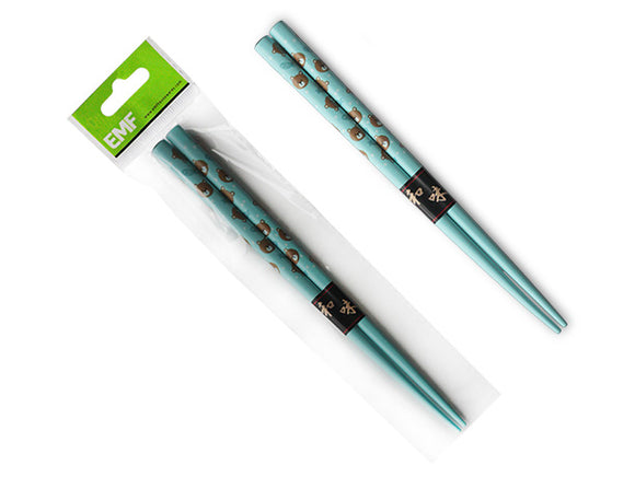 Kids Chopsticks, Blue w/Bear Faces 16.5cm