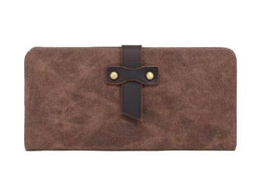 Waxed Canvas Long Wallet, Brown