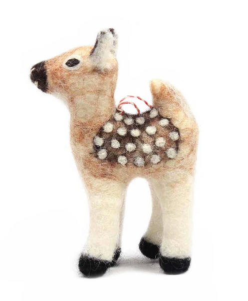 Woodland Deer Felt Ornament, 2.5x3.25
