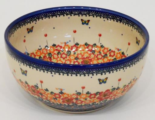 Bowl, 23x11cm, Red Flowers & Butterflies