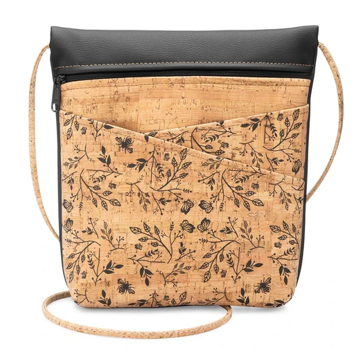 Be Lively Rustic Cork Double Criss Cross Pocket Bag w/ Floral Print