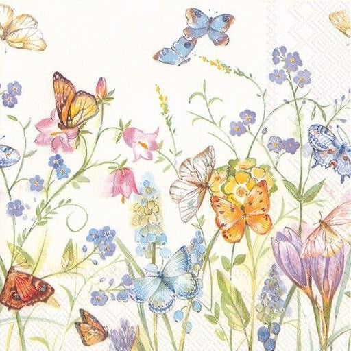 Lunch Napkin - Butterflies & Blossoms White