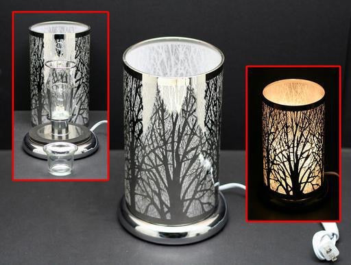 Touch Sensor Lamp - Silver Forest w/Scented Oil Holder 9.5