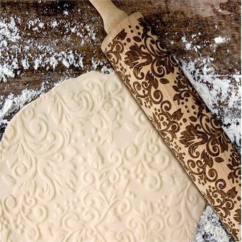 Embossed Rolling Pin, Solid Beechwood 25cm