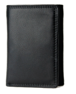 Rugged Earth Black Leather Trifold Wallet, Style 880006