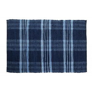 Floor Mat, Ribbed Cotton Chindi Check Blue 24x36""