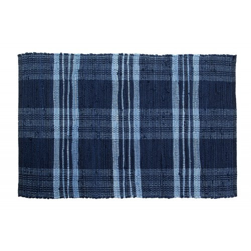 Floor Mat, Ribbed Cotton Chindi Check Blue 24x36