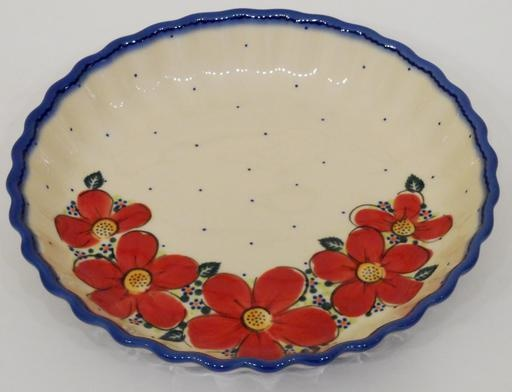 Pie/Tart Dish, 25cm, Red Flowers & Dots