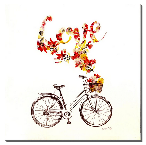 'Bicycle Love' Wood Print, 16x16